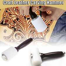 Craft Cowhide Punch Nylon Hammer Tool Leather Carving Hammer with Wood Handle v