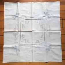 """Vintage White Linen Tablecloth Floral Design 30""""x31"""""""