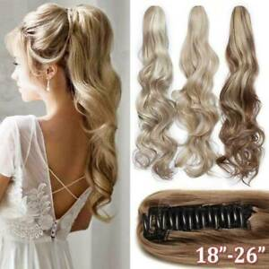 """15""""-24"""" Thick Wavy Hair  Claw Clip in Ponytail100% Remy Human Hair Extension"""
