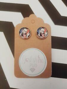 Harley Quinn DC Comics Batman Cool Retro Love Gift Silver Plated Earrings