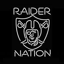 "Las Vegas Raiders Raider Nation Logo Neon Light Lamp Sign 24""x20"" Decor Glass"
