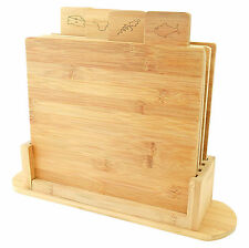 5pc Bamboo Wooden Chopping Board Set Symbol Coded Cutting Slicing Board Stand