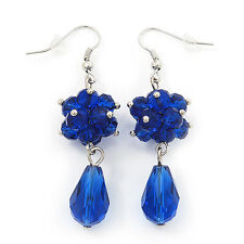 Royal Blue Glass Beaded Drop Earrings In Silver Plating - 5.5cm Length