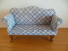 "Doll House  Upholstered Settee Sofa  White / Blue Print   H 4 5/8""   L  5 1/2"""