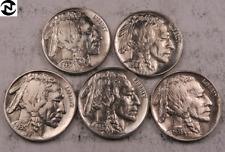 1935+1936+1937+1937-D+1938-D Buffalo Nickel Set-Lot // Choice AU-BU // (BL34)