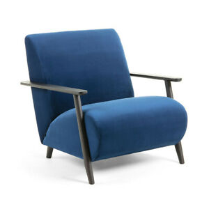 Armchair Blue Velvet with Solid Ash Timber Wendge Legs, Marthan