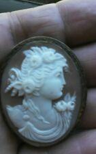 OLD HAND CARVED SHELL CAMEO BROOCH PIN  PENDANT STERLING SILVER