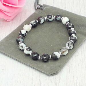 Handmade Black & White Zebra Jasper Gemstone Stretch Bracelet & Velvet Pouch.