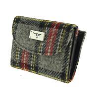 Grey Red Yellow Tartan Check Harris Tweed Jura Short Ladies Purse Wallet