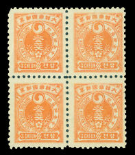 KOREA 1900  Yin Yang 3ch orange red - Perf. 10 - Scott # 21e mint MNH block of 4