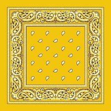 Lemon Yellow Paisley Center Cotton Bandana Scarf Handkerchief Hanky 18 X 18 Inch