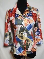 3/4 Sleeve Button Down BLOUSE ROCKABILLY PIN UP Travel Pattern Collar USA