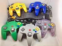 N64 NINTENDO 64 CONSOLE SYSTEM + CONTROLLER + CORDS - CLEANED AND TESTED