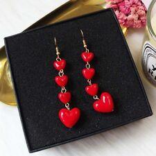 1 Pair Women Cherry Red Love Heart Earring Long Dangle Earrings Jewelry Gifts