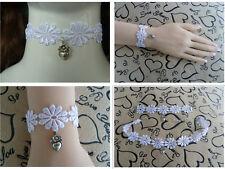 WHITE Lace Set Choker(Necklace) + Bracelet. Fancy dress. Wedding Party SET. S003