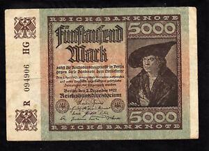 GERMANY  5000 MARK REICHSBANKNOTE 1922
