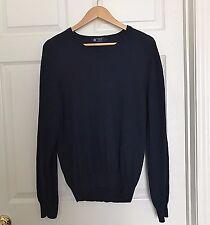 J CREW Mens Sweater V-Neck Cotton Cashmere Navy Blue Medium