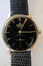 Vintage hand winding Cornavin mens dress watch striking original black dial 1960
