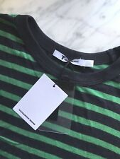 NWT T by Alexander Wang Green Black Striped Slub Jersey Classic Tee Ink Emerald