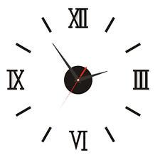 DIY 3D Large Wall Clock Roman Numeral Metallic Mirror Stick On Clock Home Office