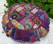 """18"""" Purple Indian Decorative Floor Cover Round New Patchwork Cushion Cover Throw"""