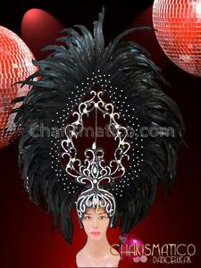 Large Openwork Swirl Iridescent Crystal Dotted Black Feather Diva Headdress