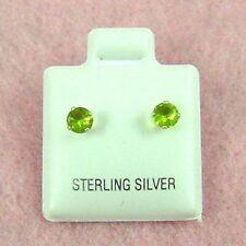 Sterling Silver - 4mm Round Peridot (CZ) Stud Earrings (SE383)