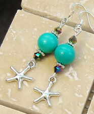 "Starfish Genuine Turquoise & Crystal Pierced Dangle Earrings 2.3"" Long"