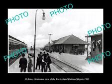 OLD LARGE HISTORIC PHOTO OF EL RENO OKLAHOMA, THE FRISCO RAILROAD DEPOT c1905 1