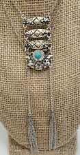 "Faux Turquoise Rhinestone Long Necklace Shield Pendant Tassel Silver Tone 30"""
