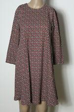 H&M Kleid Gr. 36 schwarz-rot-weiß 3/4-Arm  kurz/miniA-Linie Muster Kleid
