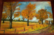 Vintage Landscape Oil Painting Mid Century , October Autumn Trees Fall Country