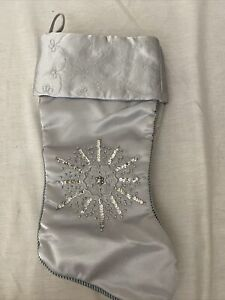 "Silver Christmas Stocking Tassel Elegant Silk Satin-Style Fabric 18"" Long"