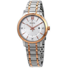 Bulova Womens Diamond Two Tone Stainless Steel Bracelet 98P176 Ladies Watch