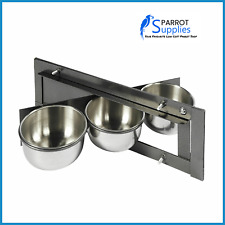 Parrot-Supplies Triple 4 Inch Bowl Parrot Swing Feeder For Cage & Aviary Birds