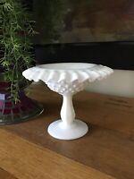 Vintage Fenton White Milk Glass Hobnail Compote Pedestal Candy Dish Ruffle Edge
