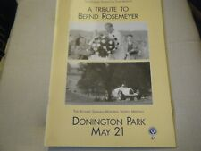 A TRIBUTE TO BERND ROSEMEYER BOOKLET PROGRAMME AUTO UNION DONINGTON 1939 1938