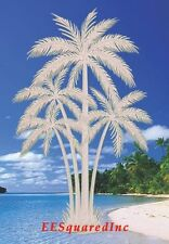 PALM TREES WINDOW CLING New Oval 8x12 Etched Glass Look Decals Tropical Decor