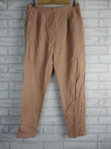 Forever New Womens Pants 8 Linen blend Beige/ Rose pink