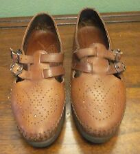 Vintage USA Made Women's DEXTER Strap Buckle Leather Loafers-Size 8W
