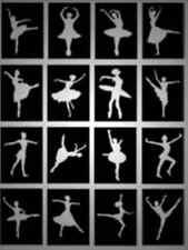32 x Ballerina Glitter Tattoo stencils