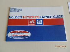 HOLDEN 1975 HJ OWNERS GUIDE INCL BONUS V8 STARTING CARD. NOT A BROCHURE