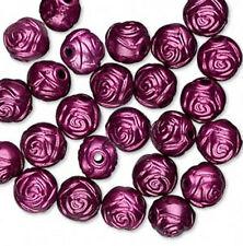 Rose Beads Purple Ribbon 8mm Awareness 65 ROSES Cystic Fibrosis Lot of 65