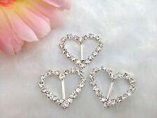 50pcs Heart Clear Glass Rhinestone Buckle Slide for Wedding Invitations Supplies