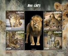 More details for liberia wild animals stamps 2020 mnh big cats lions tigers snow leopards 4v m/s