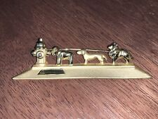 Vintage Signed Ajc 3 Puppy Dogs Bulldog Dachshund Collie Fire Hydrant Brooch Pin