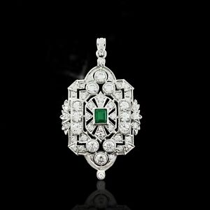 925 Sterling Silver Art Deco Vintage Style Green & White CZ Pendant Gift her
