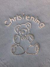 BABY BLUE CHRISTENING NAPKINS / SERVIETTES WITH SILVER TEDDY BEAR DESIGN x18