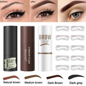 One Step Eyebrow Stamp Kit Powder Stencils Shaper Brow Definer Makeup Waterproof