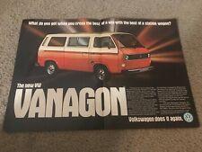 Vintage 1980 VOLKSWAGEN VW VANAGON BUS CAR Print Ad 1980s RARE